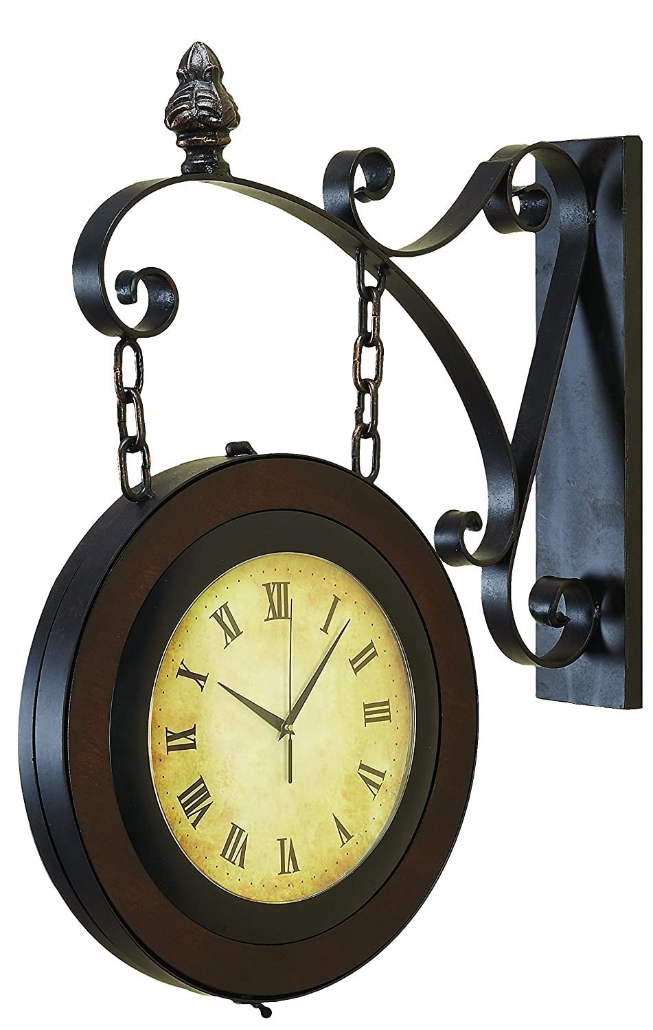 Amazon.com: Deco 79 Metal Wall 2-Side Clock, 27 by 22-Inch: Home ...