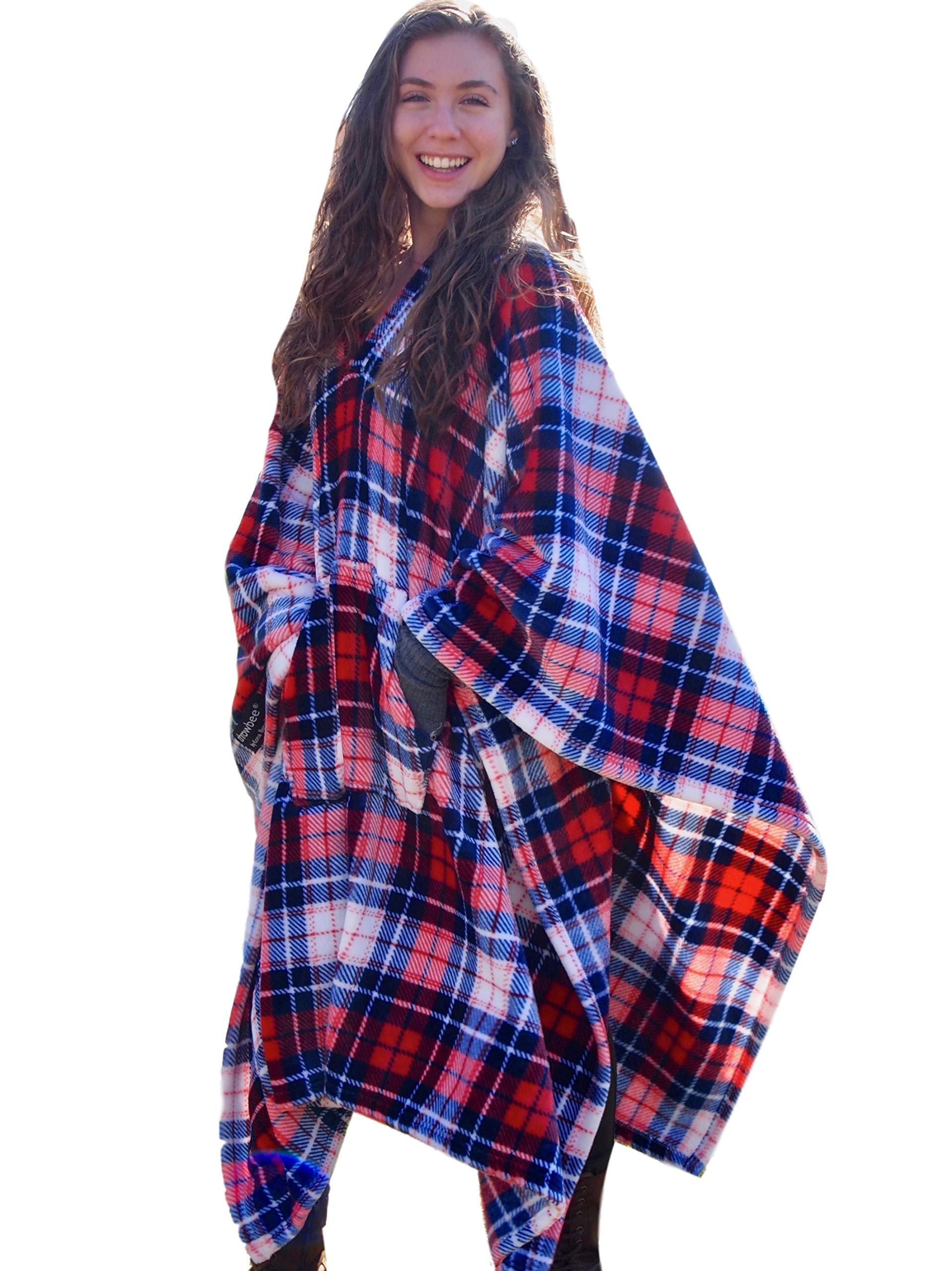 Original THROWBEE Blanket-Poncho UPSTATE PLAID red blue (Yay! NO SLEEVES) Best Wearable Blanket on the planet SOFT throw Indoors or Outdoors - adults men women kids by throwbee