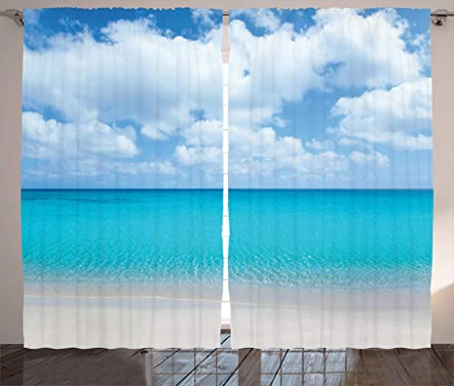 Ambesonne Ocean Curtains, Solitude Peaceful Beach Scene with Blue Ocean and Cloudy Sky Paradise View, Living Room Bedroom Window Drapes 2 Panel Set, 108 X 84 , Aqua Blue and Ivory