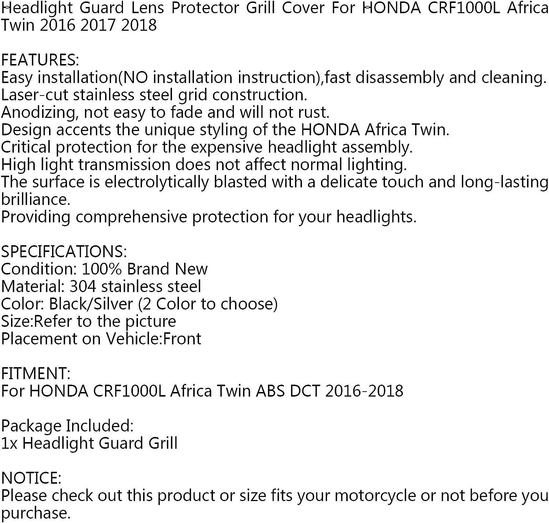 Artudatech Cubierta para faro delantero de motocicleta cubierta para faro delantero luces delanteras para H-O-N-D-A CRF1000L AFRICA TWIN 2016-2018