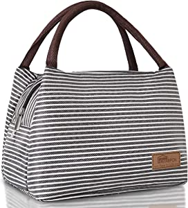 Homespon Lunch Bag Insulated Lunch Box Reusable Food Tote Large Handbag Leakproof Waterproof Keep Warm/Cool/Fresh for Adults,Children to Office,School,Picnic(black&white stripe)