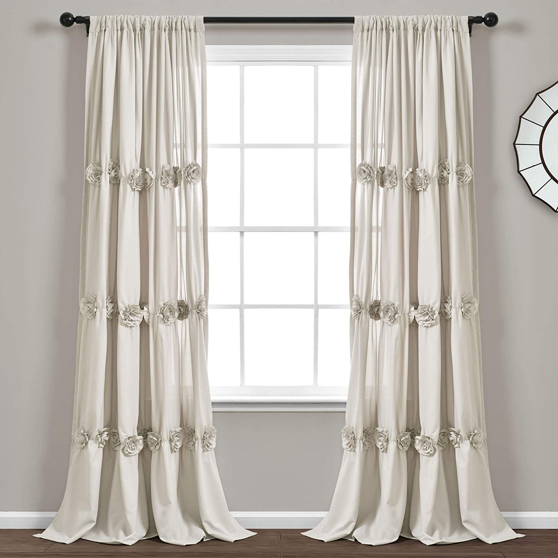 "Lush Decor, Neutral Darla Window Curtain Single Panel, 84"" x 40"""