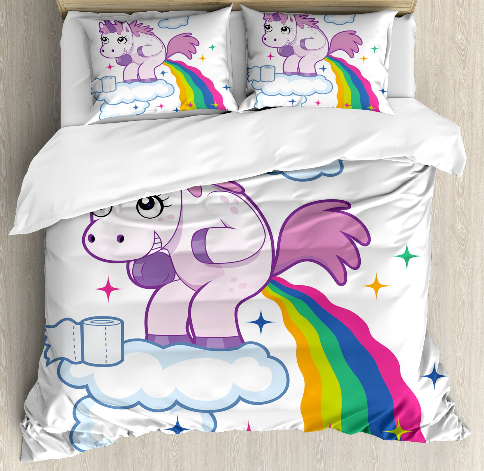 Funny Queen Size Duvet Cover Set by Ambesonne, Unicorn Pooping Rainbow over Clouds Creative Kids Girls Fairy Tale Fantasy Cartoon, Decorative 3 Piece Bedding Set with 2 Pillow Shams, Multicolor
