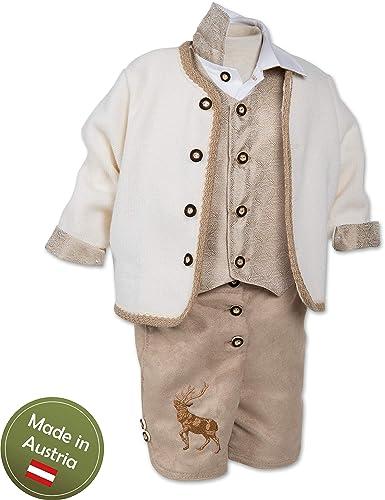 Taufanzug Tracht Baby Taufe Buben Kinder Weiß Braun
