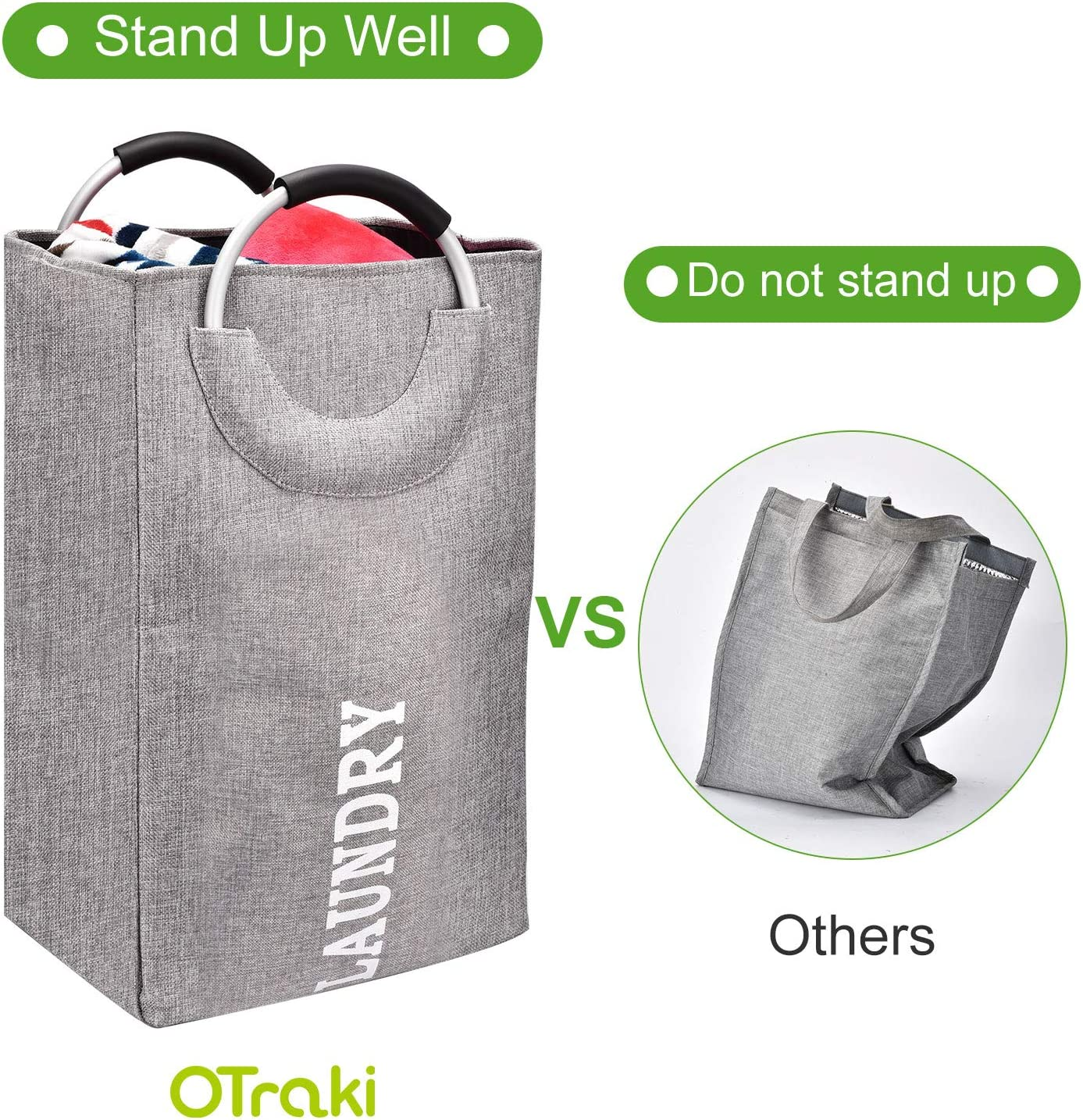 OTraki Large Laundry Hamper Collapsible with Handles 14 x 14 x 26 inch Tall Laundry Basket Dirty Clothes Linen 85L Standing Thickened Organizer College Dorm Travel Baby Toy Storage Container Gray