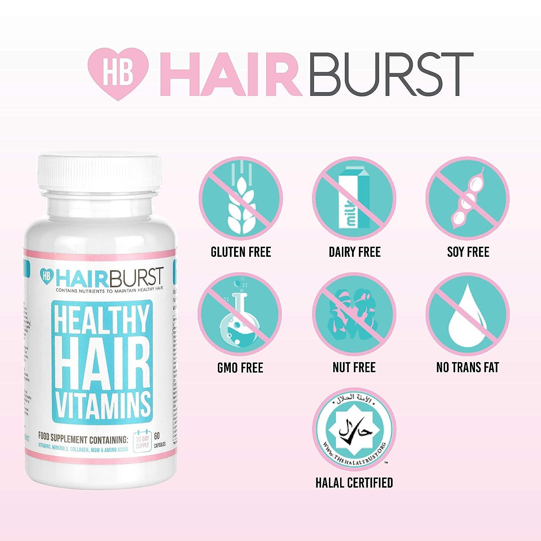 HAIRBURST TM Vitaminas para el crecimiento del cabello - Un suministro de un mes - 60 cápsulas - Crecimiento rápido del pelo y garantía de devolución de ...