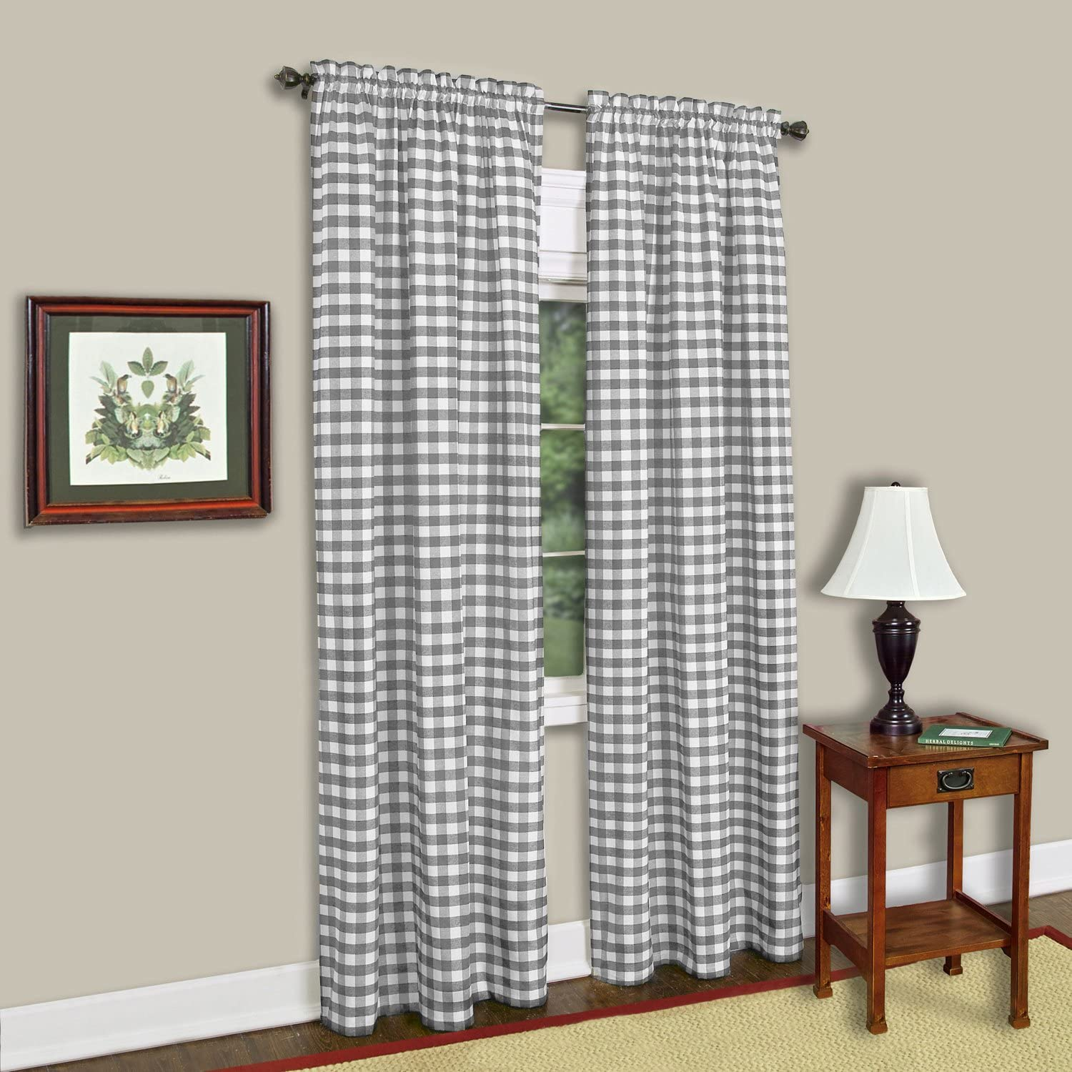 "Sweet Home Collection Kitchen Window Curtain Panel Treatment Decorative Buffalo Check Design, 84"" Long, Gray"