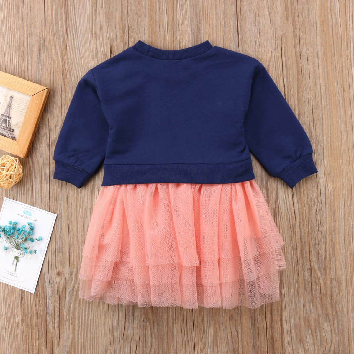 Greenafter Toddler Girls Knitted Dress Long Sleeve Tulle Skirts Mini Dress Outfit