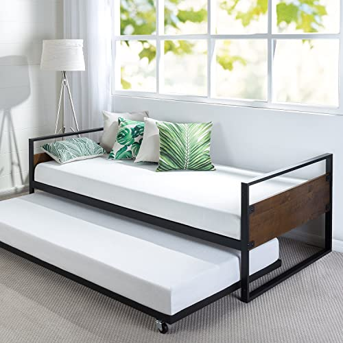 Zinus Suzanne Twin Daybed and Trundle Frame Set Premium Steel Slat Support Daybed and Roll Out Trundle Accommodate Twin Size Mattresses Sold Separately