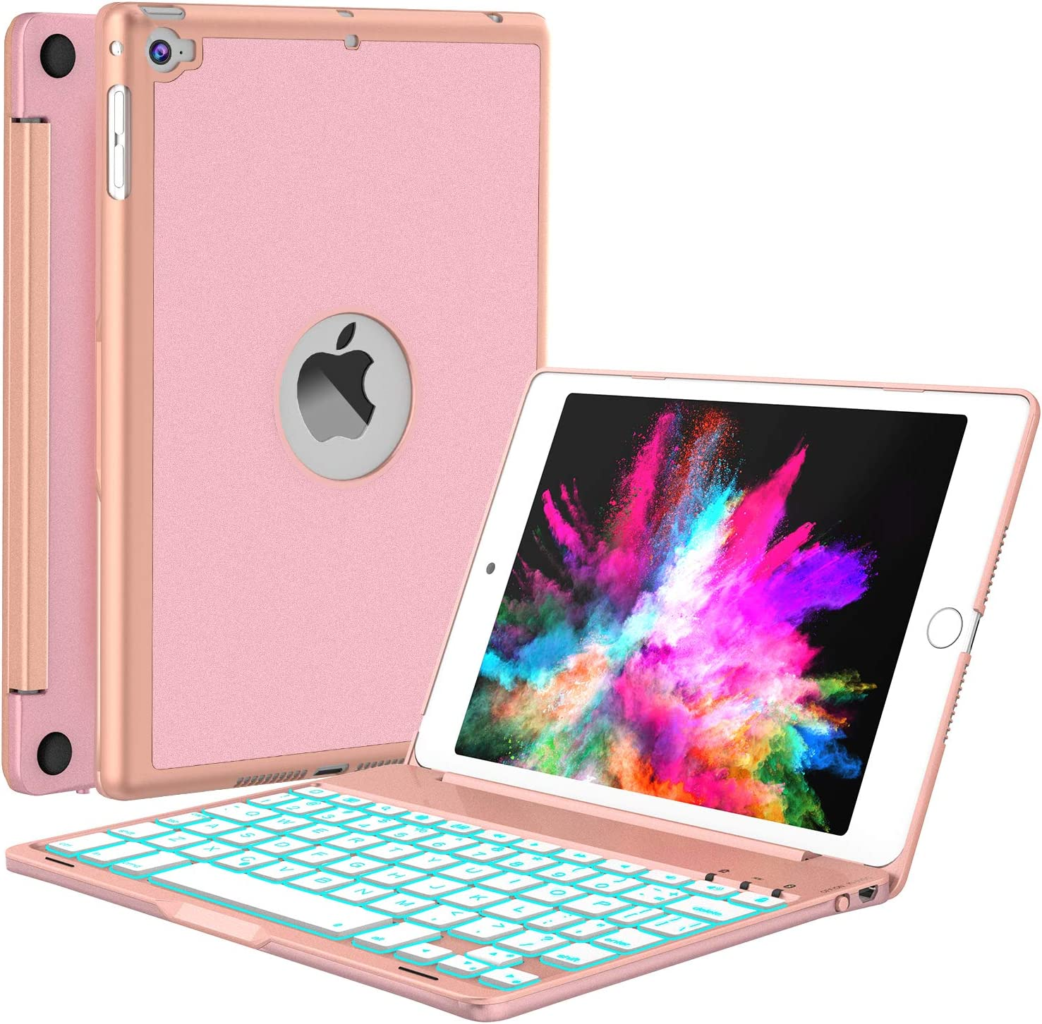 iPad Mini 5 / Mini 4 Keyboard - 135 Degree Flip 7 Color Backlit Aluminum Shell Smart Folio Keyboard Case with Auto Sleep/Wake for iPad Mini 5th Gen 2019 / iPad Mini 4 2015, Rose Gold