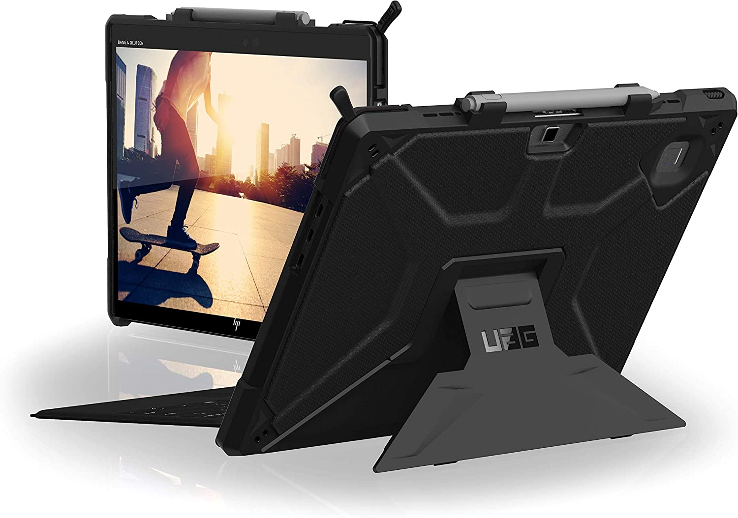 URBAN ARMOR GEAR UAG Compatible with HP Elite x2 G4 12.3-inch & 13-inch, Tablet Case with Built-in Adjustable Kickstand, Metropolis Feather-Light Rugged Black Military Drop Tested Case (822266B14040)