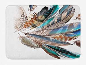 """Ambesonne Feathers Bath Mat, Vaned Types and Natal Contour Flight Bird Feathers and Animal Skin Element Print, Plush Bathroom Decor Mat with Non Slip Backing, 29.5"""" X 17.5"""", Teal Brown"""