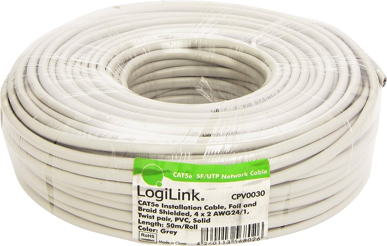 LogiLink CPV0030 Cable de instalación Cat5e SFTP, Gris, 50 m ...