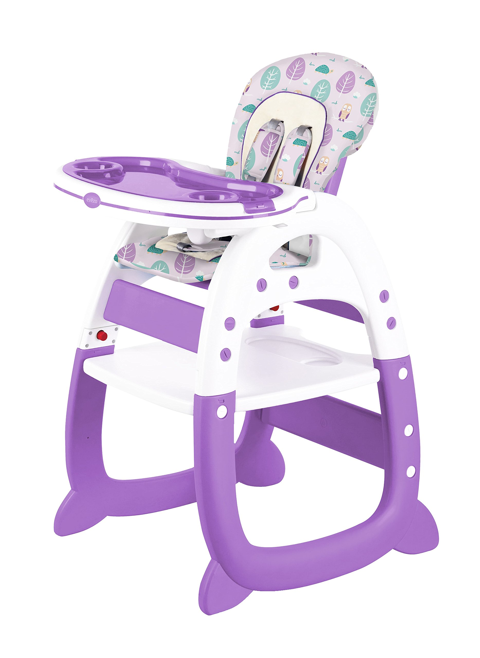 Evezo Rose Baby High Chair with Play Table Conversion 2 in 1 (Purple)