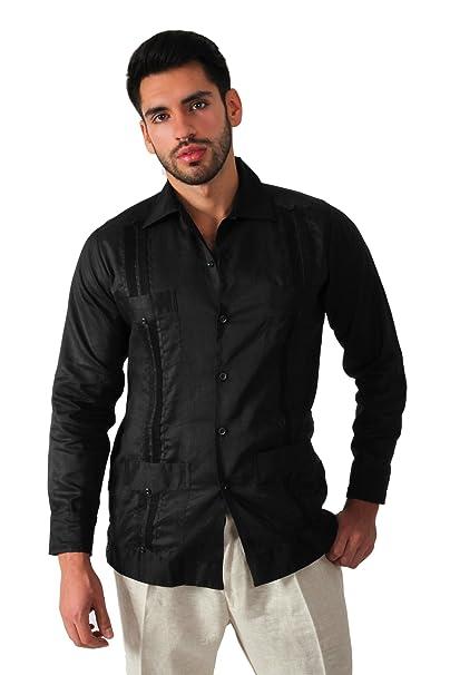 e7385102d6 Guayabera yucateca 100% lino irlandes color negro talla 36 manga corta