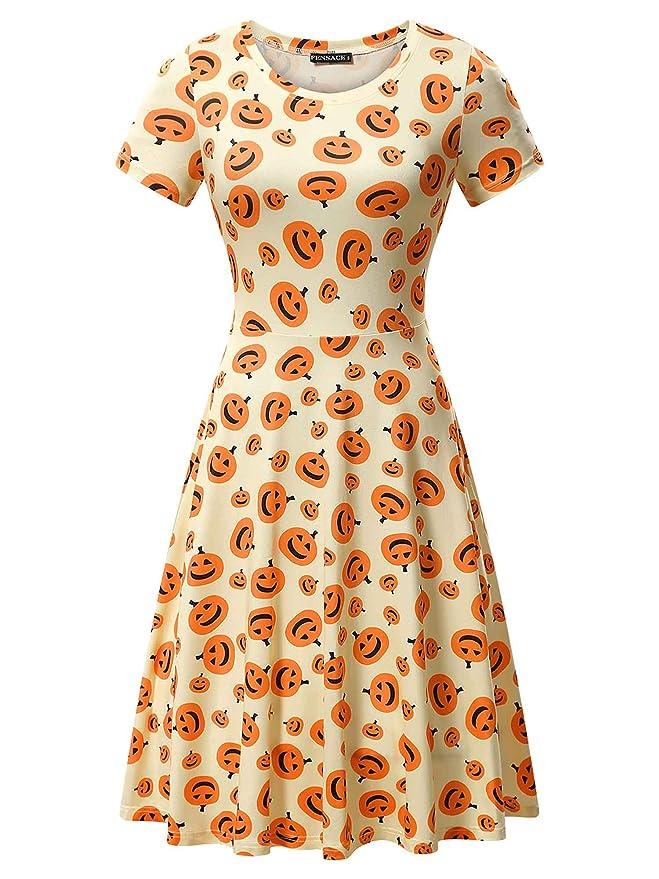 FENSACE Womens Short Sleeves Casual A-Line Halloween Pumpkin Dress,Large, 17038-5