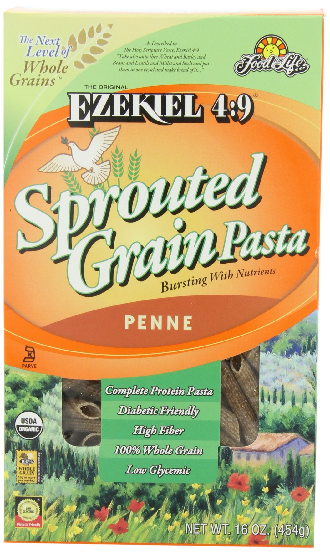 Food For Life Ezekiel 4:9 Organic Sprouted Grain Pasta, Penne, 16-Ounce Boxes (Pack of 6)