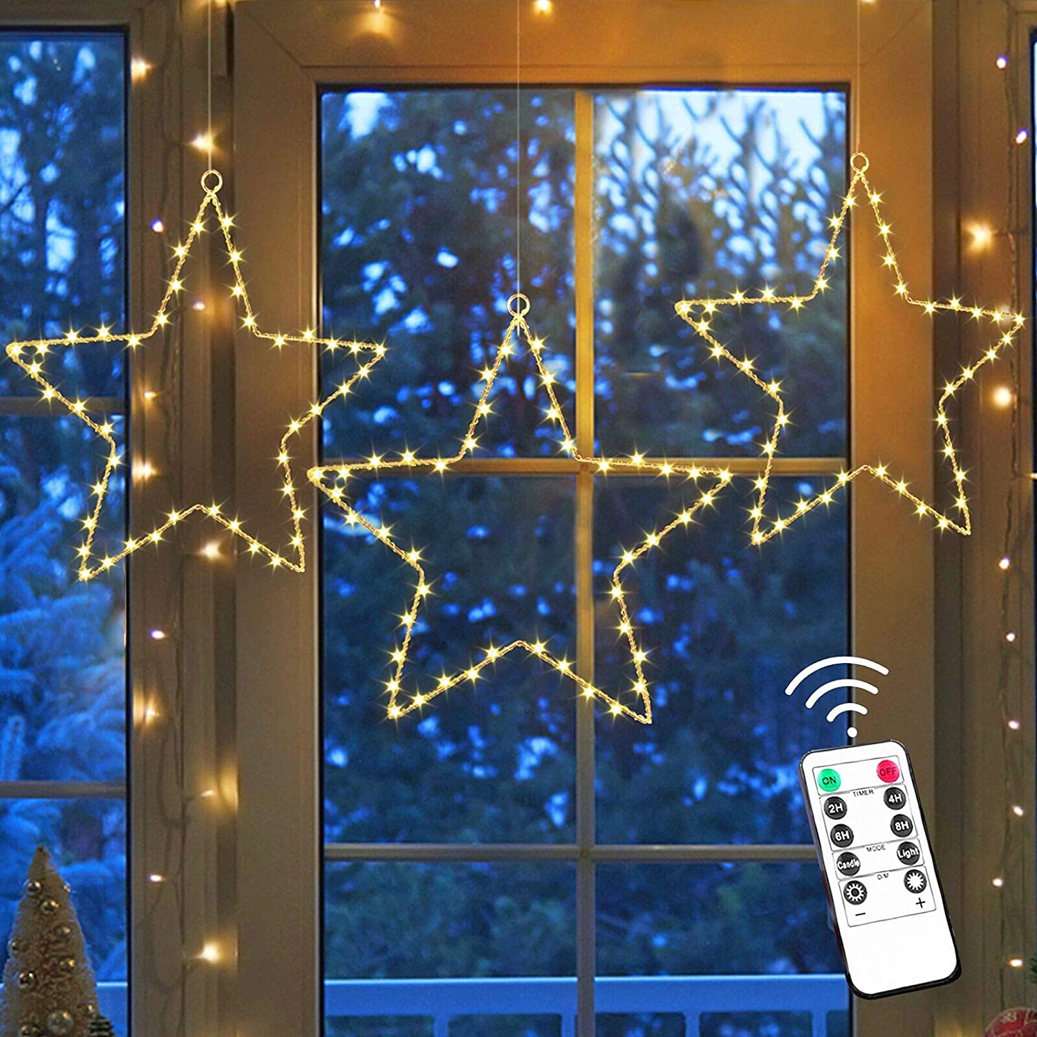 InaRock 3 Pack Christmas Window Star Lights, 45 LED Star Lights Waterproof with 8 Lighting Modes, Battery Operated Christmas Decorations with 3 Remote Controls for Outdoor Indoor Holiday Party