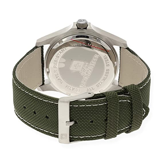 Amazon.com: Swiss Mountaineer Mens Swiss Watch Green Nylon Canvas Band Big Black Easy Read Dial Date Reloj SML8010: Swiss Mountaineer: Watches