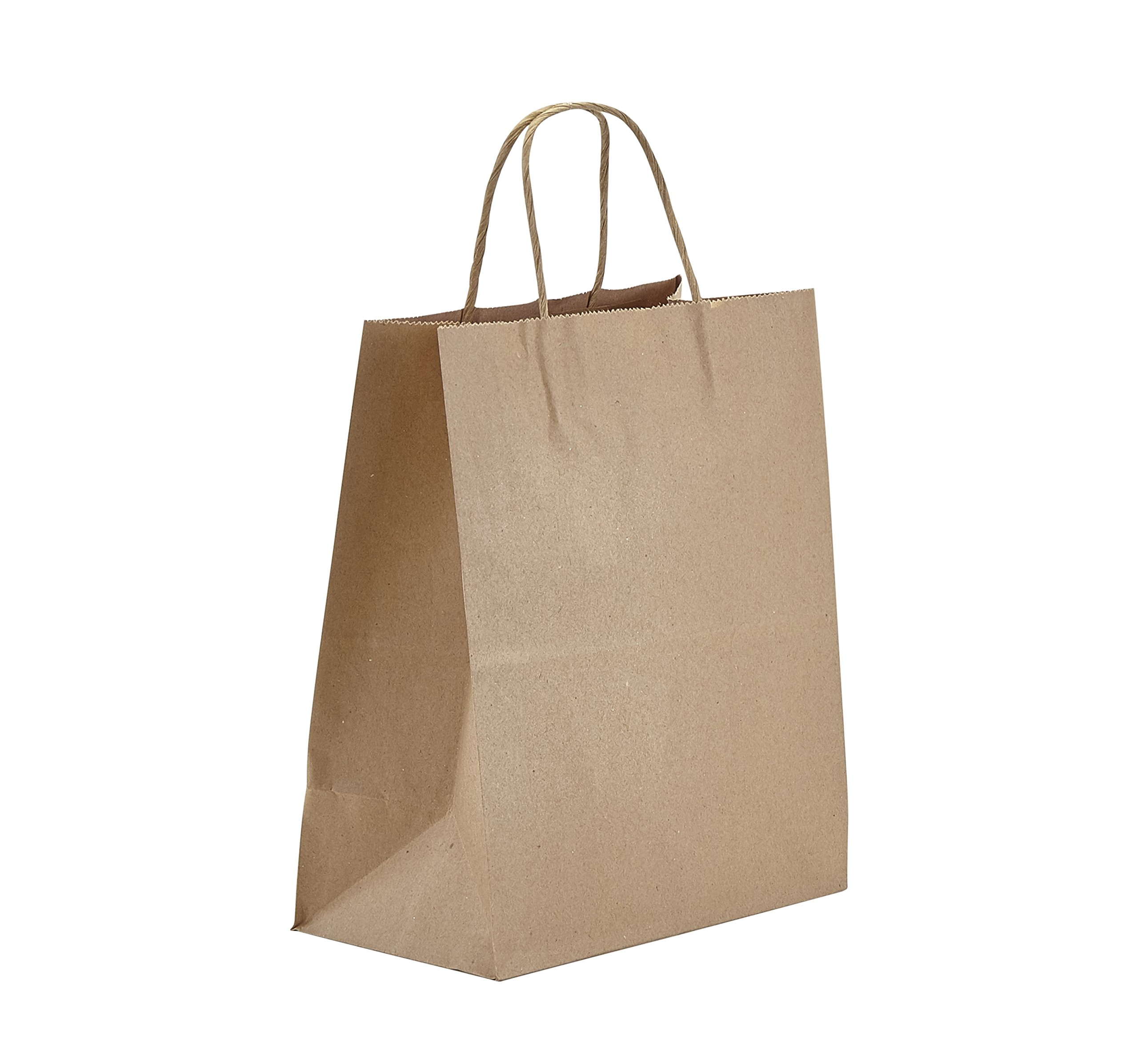 PTP - 8'' x 4.75'' x 10.5'' Natural Kraft Paper Gift Tote Bags - 250 Count| Perfect for Birthdays, Weddings, Holidays and All Occassions | White or Natural Colors | Multiple Sizes