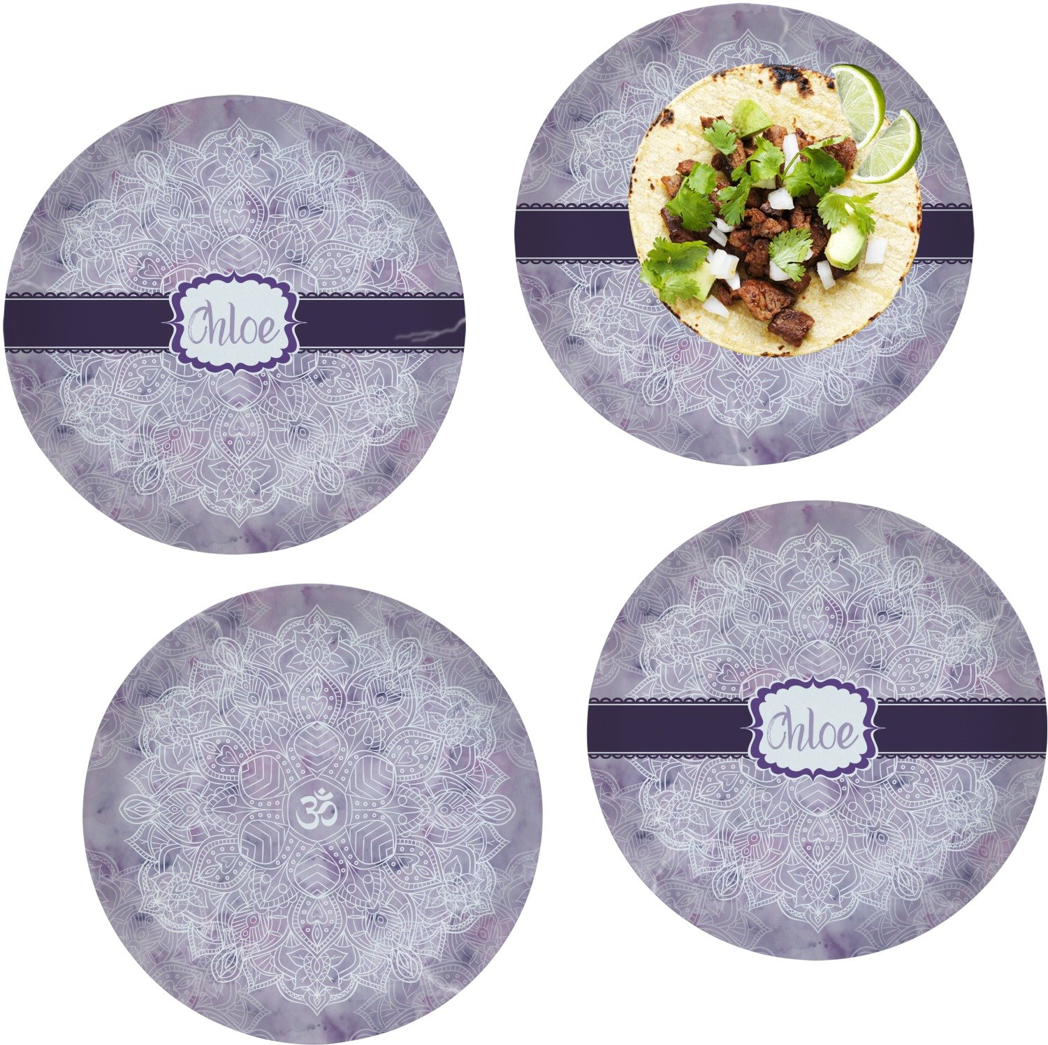 Watercolor Mandala Set of 4 Lunch / Dinner Plates (Glass) (Personalized)