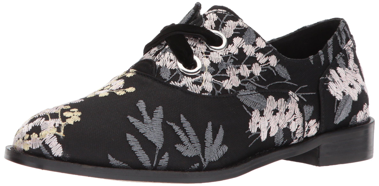 Shellys London Women's Frankie Oxford Flat, Black Floral, 38 M EU (7.5 US)