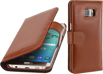 StilGut Talis, Housse Porte-Cartes en Cuir pour Samsung Galaxy S6 Edge+, en Cognac