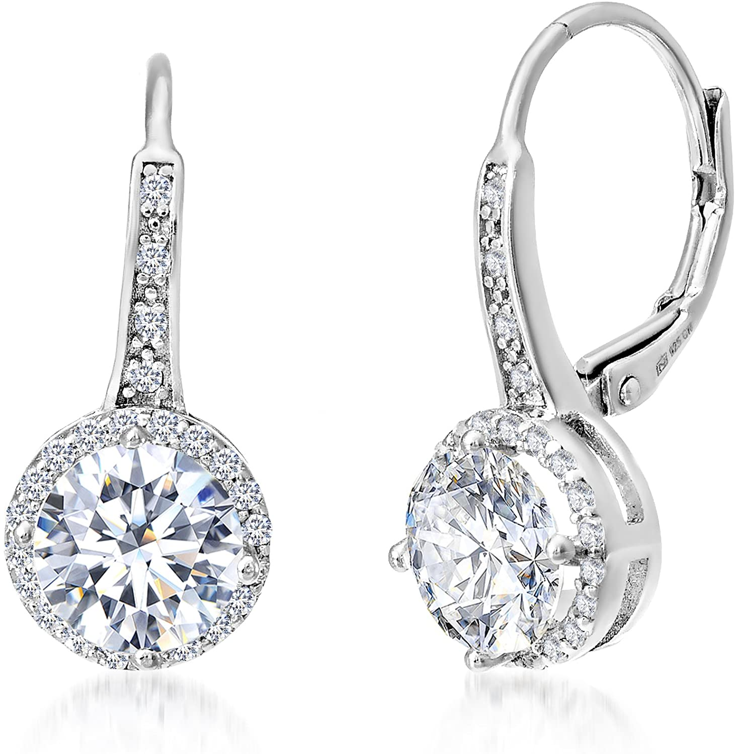 MIA SARINE Sterling Silver Cubic Zirconia Halo Leverback Dangle Bridal Earrings for Women