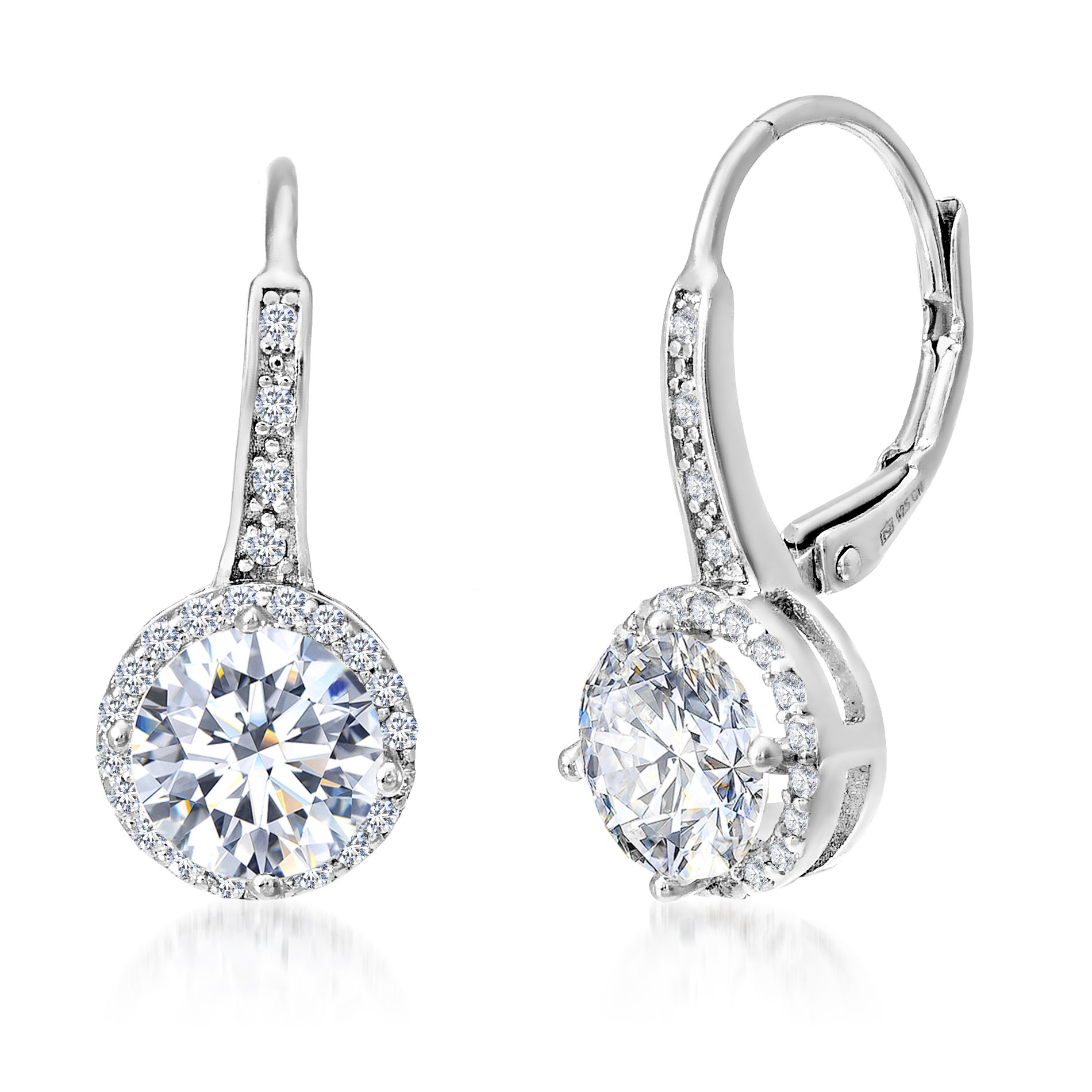 Mia Sarine Women Cubic Zirconia Halo Leverback Dangle Earring in Rhodium over Sterling Silver