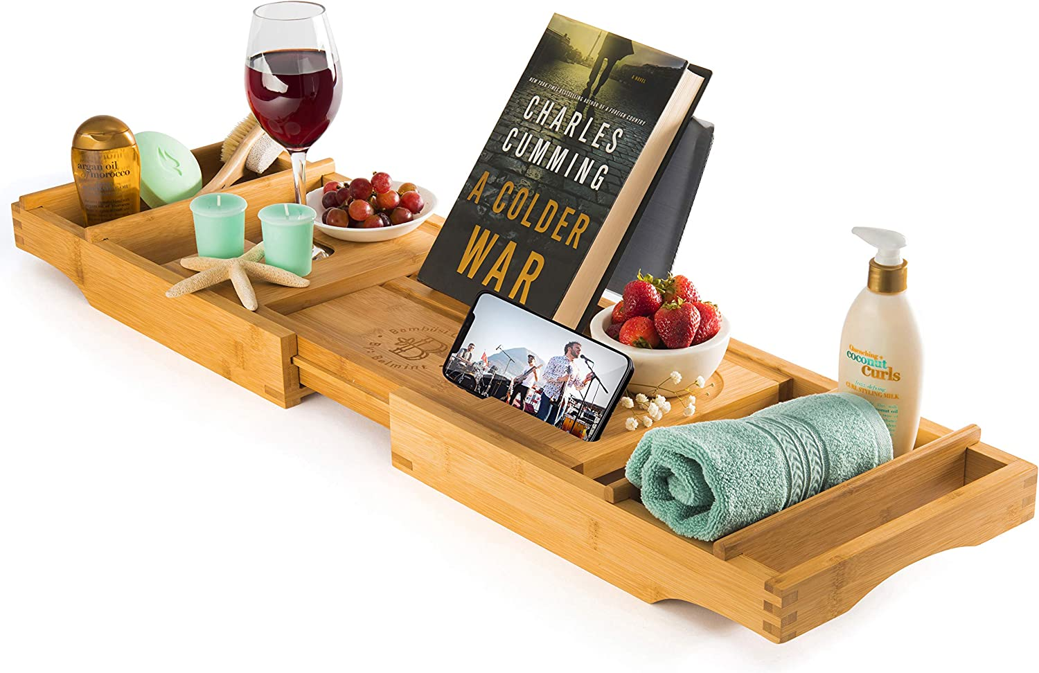 Amazon Com Luxury Bamboo Bathtub Tray Caddy Expandable And Nonslip Bath Caddy With Book Tablet And Wine Glass Holder Great Gift Idea For Loved Ones Kitchen Dining