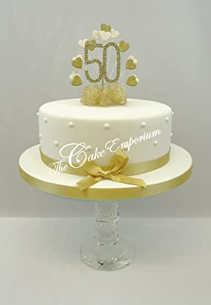 CAKE DECORATION GOLDEN 50th WEDDING ANNIVERSARY DIAMANTE TOPPER HEART WITH MATCHING RIBBON PACK