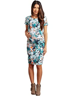 8309b412164b5 PinkBlush Maternity Navy Blue Watercolor Floral Fitted Maternity ...
