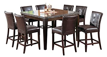 Amazon.com - Acme 07059 Danville Marble Top Dining Table, Black ...