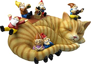 By Mark & Margot - Gnomes Sleeping Cat Picnic with Granny Statue - Beautiful Garden Home Office Funny Novelty Gift …