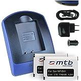 2 Batteries + Chargeur (USB/Auto/Secteur) pour Sony NP-BX1 / HDR-AS50, AS200V / DSC-HX90(V), HX400, RX100 IV, WX500 / X1000V... v. liste