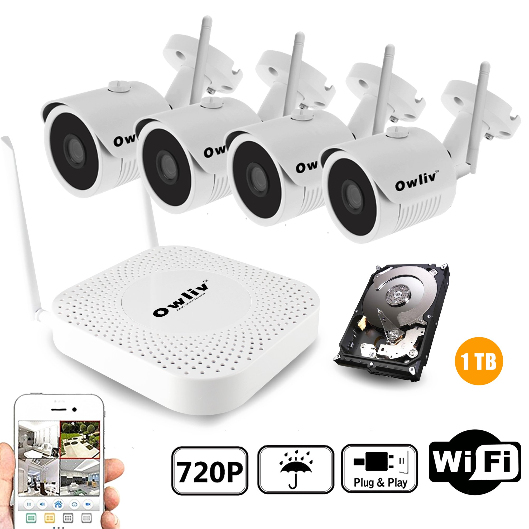 OWLIV 720P 1.0MP + 1TB Hard Disk Smart WIFI IP Camera System 4CH Kit Indoor/Outdoor Waterproof Night Vision HD Wireless Video Surveillance With 1TB Hard Drive