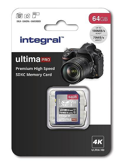 Integral - Tarjeta SD de 256 GB (4 K, Alta Velocidad, SDXC, hasta 100 MB/s, V30, UHS-I, U3) 64 GB. 64 GB