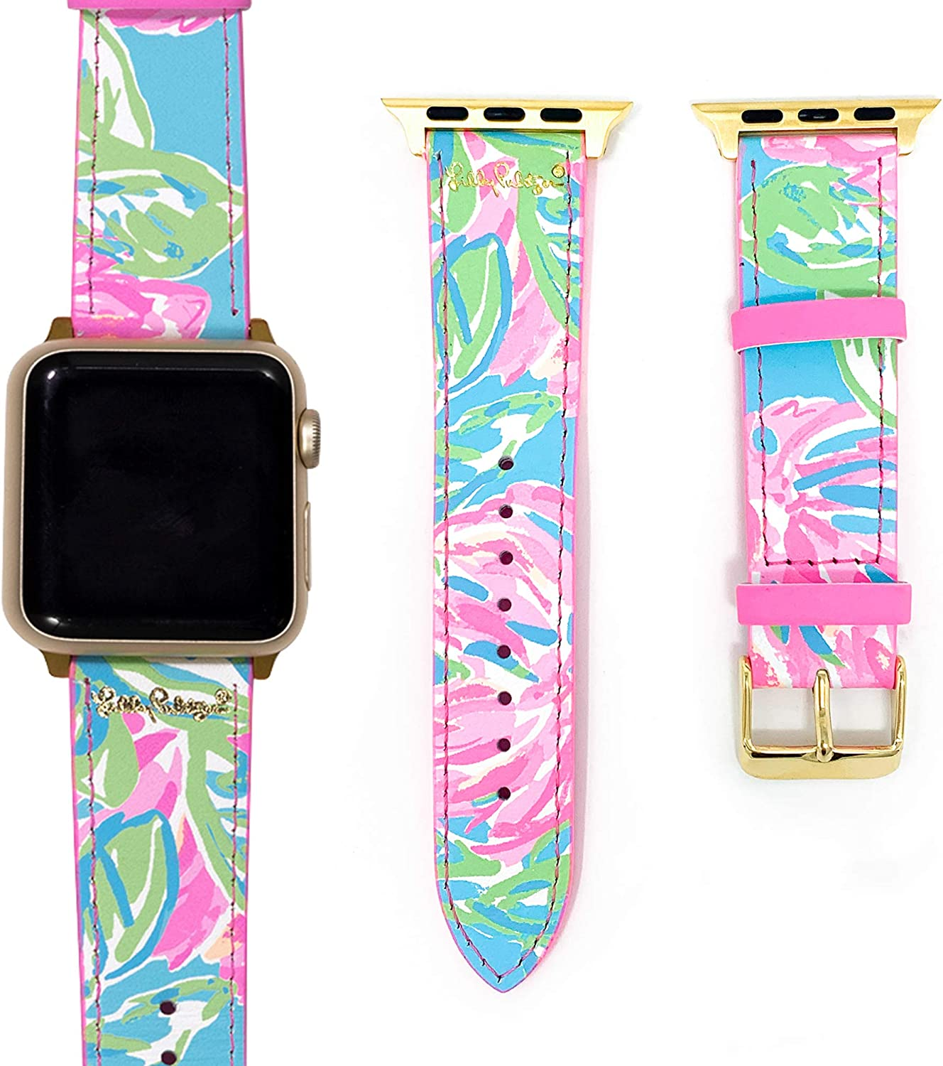 Lilly Pulitzer Genuine Leather Watch Band Sized to Fit 38mm & 40mm Smartwatches Compatible with Apple Watch Series 1, 2, 3, & 4 (Totally Blossom)