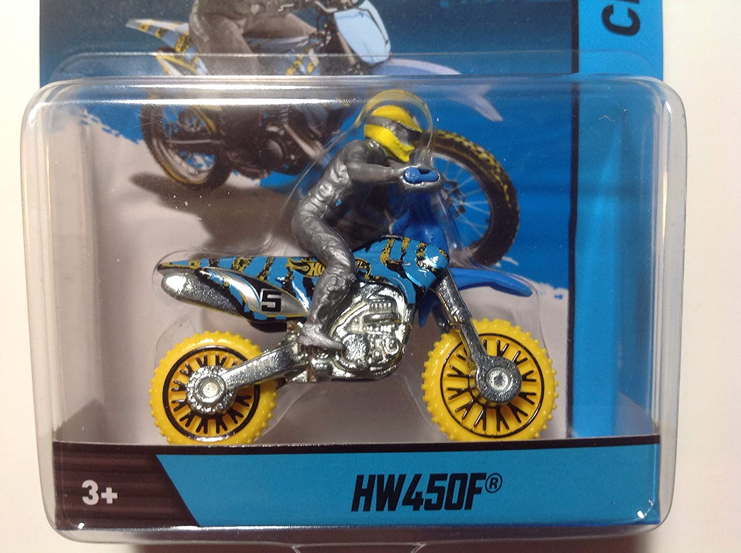HW450F MOTORCYCLE /& RIDER Hot Wheels 1:64 Scale 2012 Die-Cast Vehicle Blue /& Yellow
