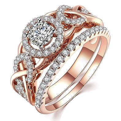 Amazon Com Guqiguli Twist Shank Cubic Zirconia Bridal Engagement