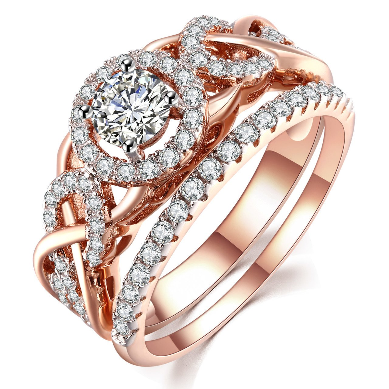 GuqiGuli Twist Shank Rose Gold Plate Sterling Silver Cubic Zirconia Bridal Engagement Wedding Ring Sets Size 8