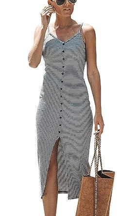 87b49cb6ba Hibluco Women s Spaghetti Strap V Neck Striped Slit Front Midi Bodycon Slim  Dress Black White