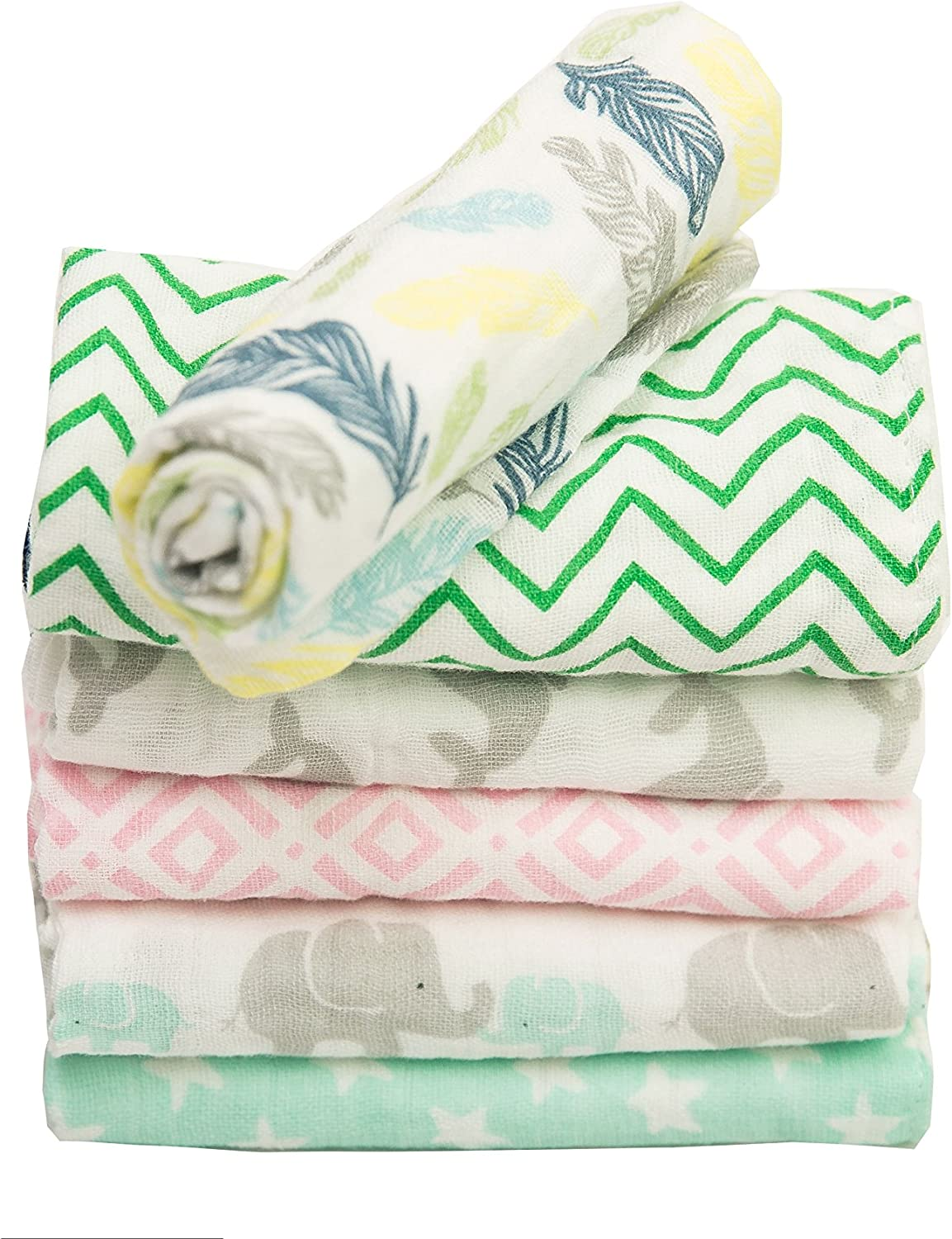 with Hook 6-pack BWinka Unique Design encrypt 100/% muslin Soft Newborn Baby Face Towel and Muslin Washcloth for Sensitive Skin 12x12 reusable wipes Best for Shower Gift