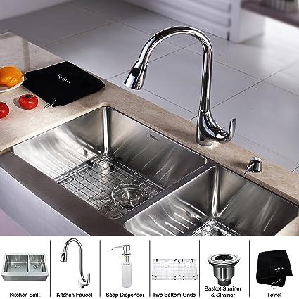 Kraus khf203 – 33-kpf1621-ksd30ch 33 pulgadas granja doble cuenco fregadero de cocina