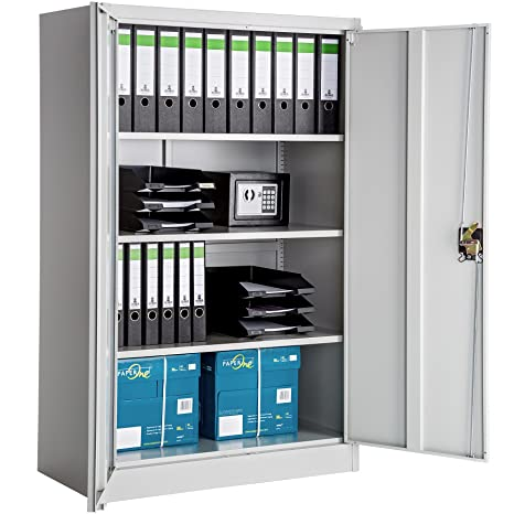 TecTake Armario archivador de Oficina metálico con 2 Puertas bloqueable e estantes - Varias tamaños -