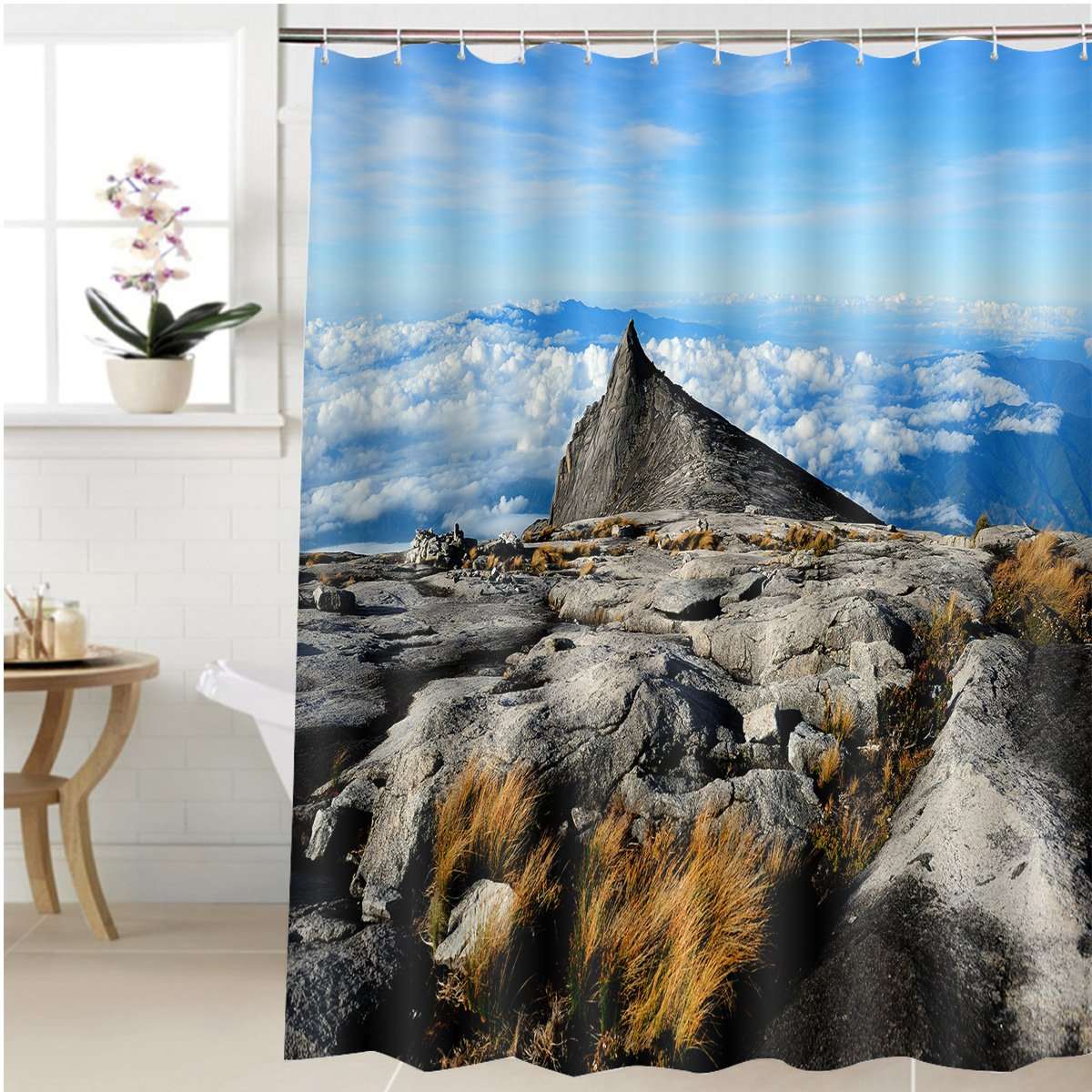 Amazon.com: Gzhihine Shower curtain kinabalu mountain in kinabalu ...