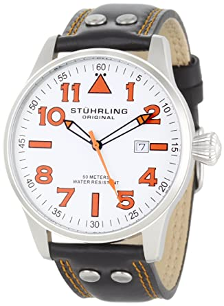 Stuhrling Original Men s Swiss Quartz Stainless Steel and Leather Casual  Watch 7bc430b7850