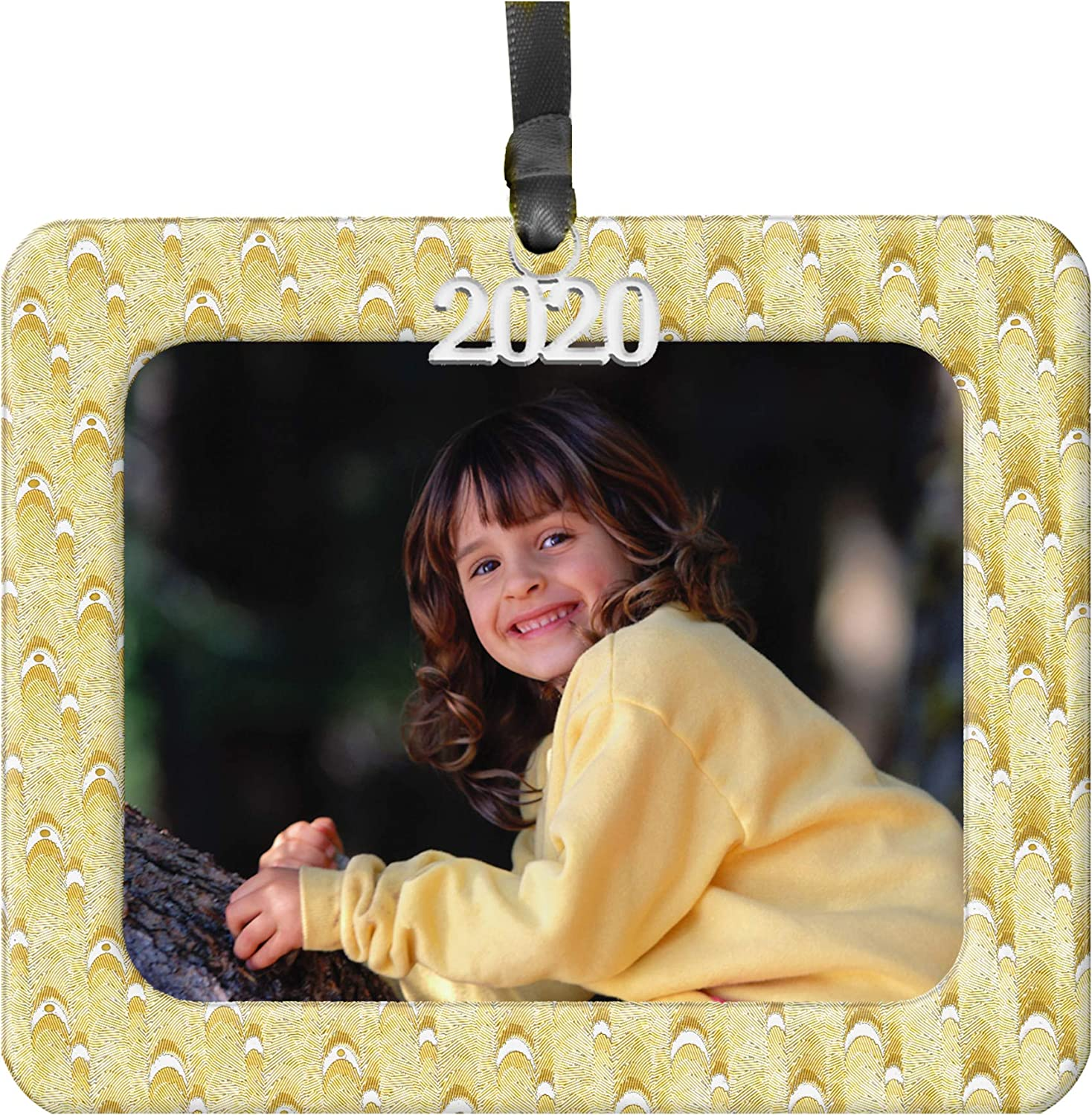 2020 Photo Christmas Ornament, Gold-Silver Iridescent Foil Blended Design with Black Satin Accent Ribbon | Magnetic Easy-Load Photo Includes Non-Glare Photo Protector, Horizontal