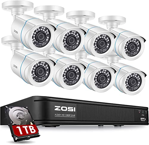 ZOSI 1080P H.265 Home Security Camera System,5MP Lite 8 Channel CCTV DVR Recorder with Hard Drive 1TB and 8 x 1080p Weatherproof Bullet Camera Outdoor Indoor with 80ft Night Vision, Motion Alerts