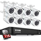 ZOSI 1080P H.265+ Home Security Camera System,5MP Lite 8 Channel CCTV DVR Recorder with Hard Drive 1TB and 8 x 1080p Weatherp